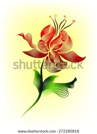 Stylized flower of the lines. Vector - stock vector