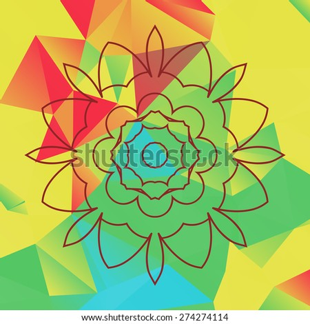 Stylized flower over bright triangles background - stock vector