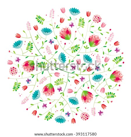 Stylized flower round spring composition for Valentine's Day, wedding, sales and other events, for prints, greeting cards, posters, invitations. - stock vector