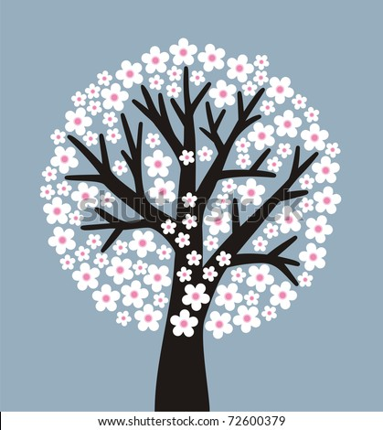 stylized flowering tree on gray-blue background