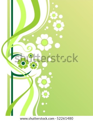 Stylized flowers and strips on a green background.