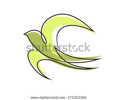 Stylized flying swallow bird logo with outspread wings and tail in a flowing outline colored green symbolic of peace and freedom - stock vector