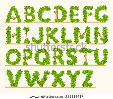 Stylized font of green leaves and branches