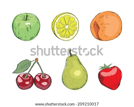 stylized fruit in color with a black outline