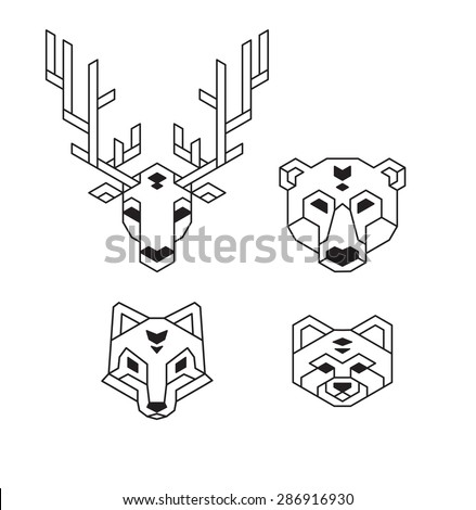 Stylized geometric animal heads (deer, bear, wolf or fox and red panda) in polygonal wireframe style. - stock vector