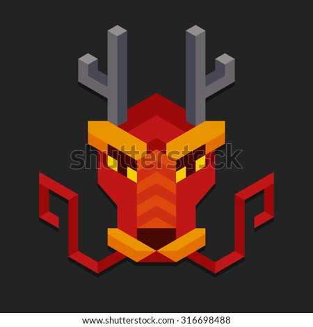 Stylized geometric chinese dragon head. Simple and minimalistic polygonal style. - stock vector