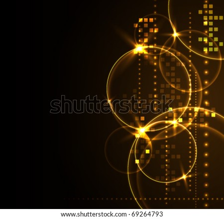 Stylized glowing background with digital symbols, vector illustration