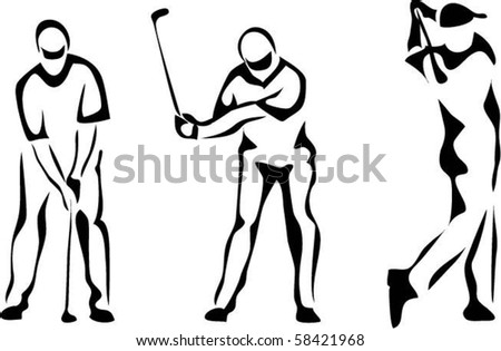 Golf Swing Logo Golf Swing Silhouette Stock