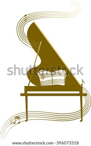 Stylized grand piano, classic music - stock vector