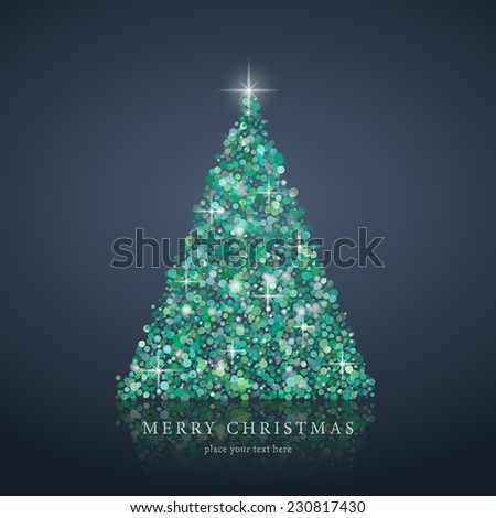 Stylized green abstract Christmas tree silhouette from art circle vector blue background illustration. EPS10 - stock vector