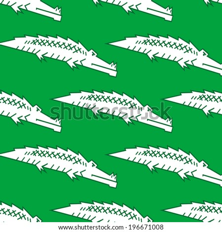 Stylized green crocodile or alligator seamless pattern with a repeat motif in square format - stock vector