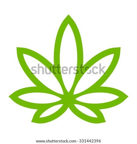 stylized green marijuana pot weed leaf stock vector 331442396