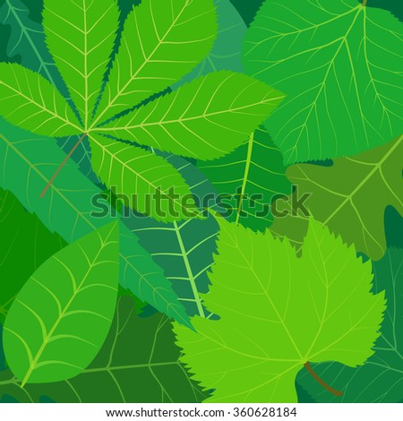 stylized green summer leaves natural background - stock vector