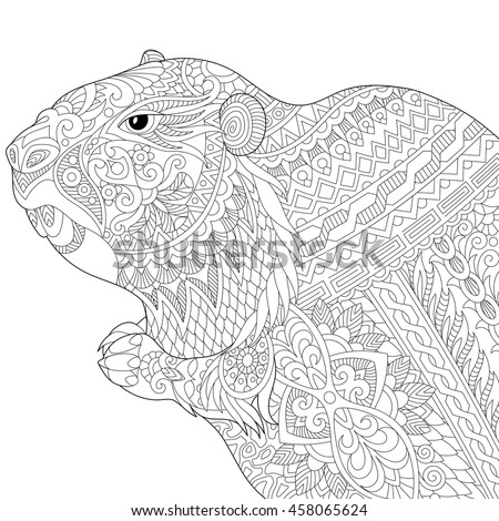 Stylized Groundhog Gopher Marmot Woodchuck Or Beaver Isolated On White Background