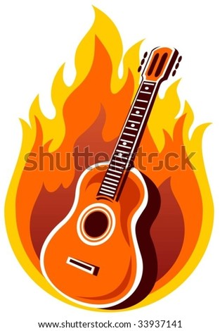 Stylized  guitar and fire on a white background.