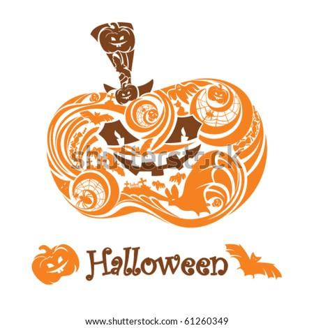 stylized halloween pumpkin - stock vector