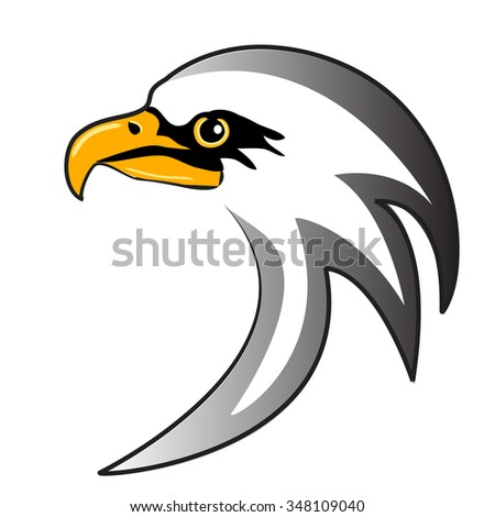 stylized head eagle on white background