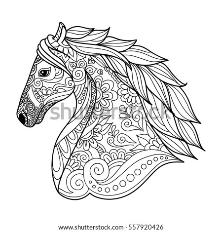 Stylized Head Horse Coloring Book Adults Stock Vector (2018 ...