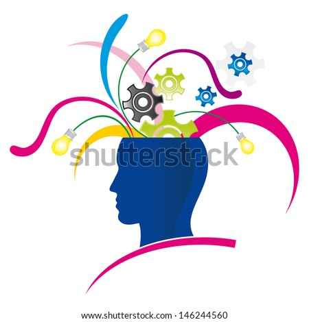 stylized head with explosion  of creativity and colors - stock vector