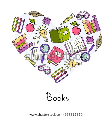 Stylized Heart On Theme Books Education Stock Vector 335891810