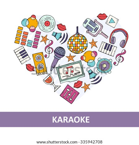 Stylized heart on the theme of karaoke and music. Illustration with microphones, headphones, speakers, etc. Vector for use in design