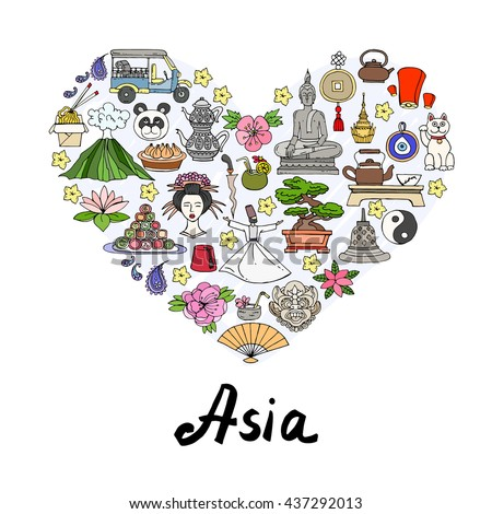 Stylized heart with hand drawn colored symbols of Asian countries. Illustration on the theme of travel and tourism. Vector for use in design
