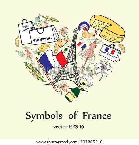 Stylized Heart Symbols France Illustration Use Stock Vector Royalty