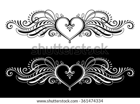 Stylized Heart with Wings in Vector. Decorative Ornamental Element for Your Design. - stock vector