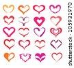 stylized hearts collection, isolated vector symbols - stock photo