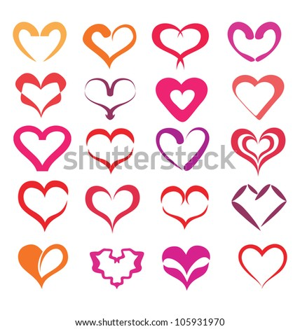 stylized hearts collection, isolated vector symbols - stock vector