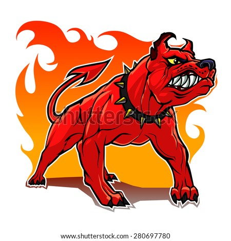 Stylized hell dog.  - stock vector