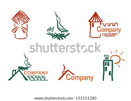 Stylized house and roof. Vector set. - stock vector