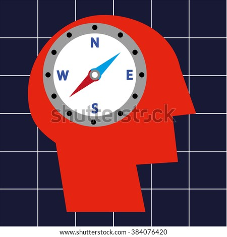 Stylized human head in profile and a compass in the brain area as a concept for guidance and direction - stock vector