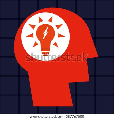 Stylized human head in profile with an illuminated electric light bulb in the brain area as a concept for power, energy and ideas - stock vector