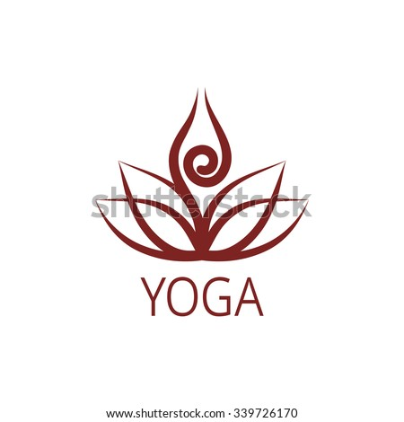 Yoga Lotus Symbol Stylized human yoga shape in abstract lotus symbol. Vector icon ...