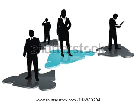 stylized icon as abstract business team on puzzle field - stock vector