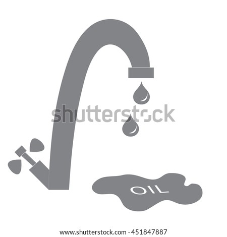 Stylized icon of the faucet with drops of fuel and the inscription oil in a puddle on a white background