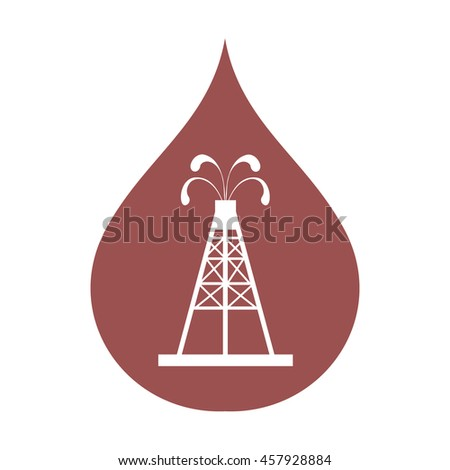 Stylized icon of the oil rig with fountains spurting up oil with oil in the color of fuel drop on a white background - stock vector