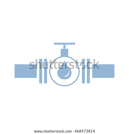 Stylized icon of the pipe with a valve and fuel drops on a white background