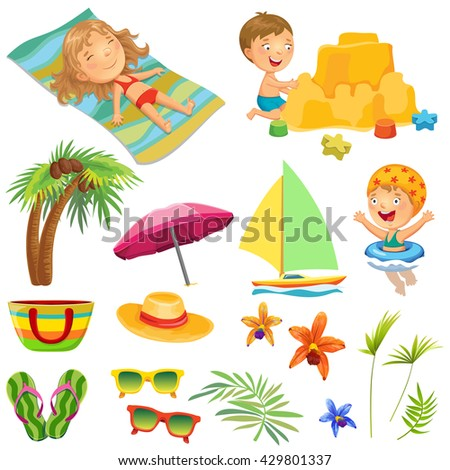 Stylized icons beach set. Cartoon children playing on the beach.