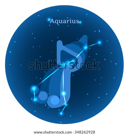 Stylized icons of zodiac signs in the night sky with zodiac bright stars constellation in front. Astrology symbol. Vector flat illustrations. Aquarius zodiac sign. - stock vector