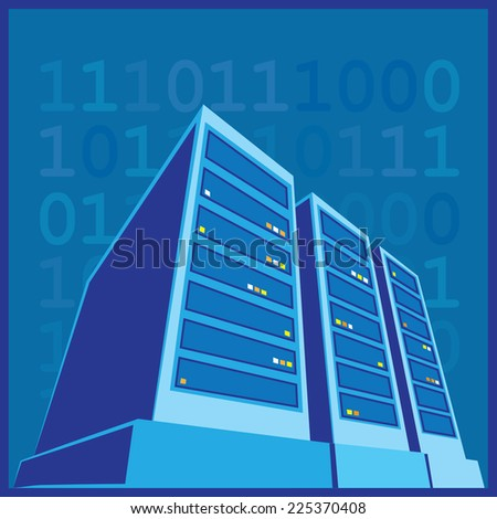 stylized illustration of a data center, a supercomputer, servers and other computing facilities - stock vector