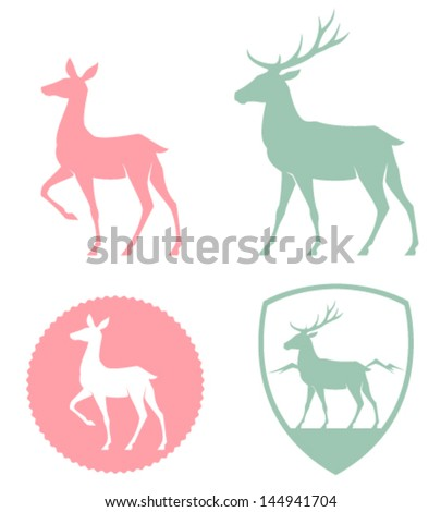 stylized illustration of a doe and deer in pastel colors - stock vector