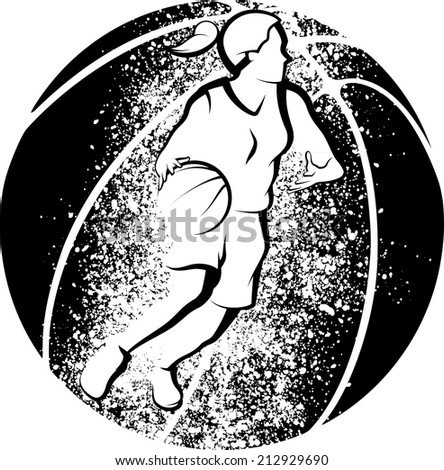 Stylized illustration of a girl basketball player driving to the basket in front of a basketball with grunge splatter. - stock vector
