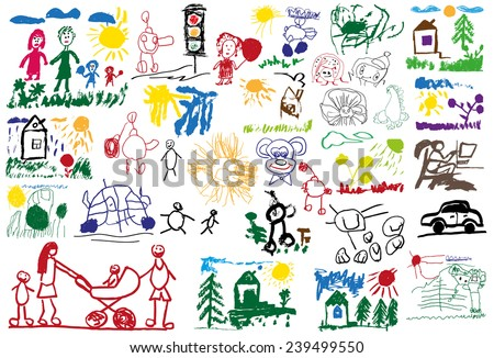 stylized illustration of a set of children's drawings - stock vector