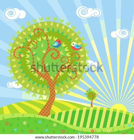 Stylized illustration of a summer landscape with trees, meadows, sun and birds - stock vector