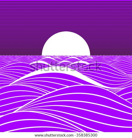 Stylized illustration of a white sun or full moon, rising or setting on a purple sea. - stock vector