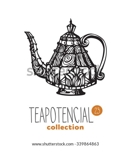 stylized illustration of teapot with text part of a collection