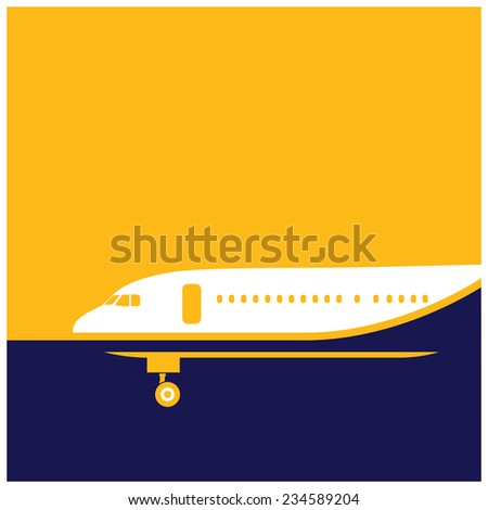 stylized illustration on the theme of air transport. airliner. - stock vector