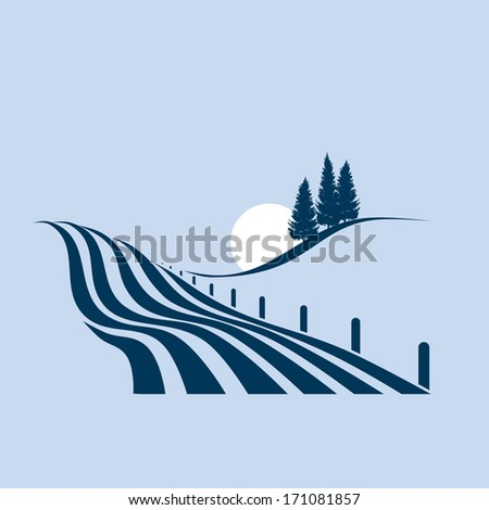 stylized illustration showing an agrarian landscape